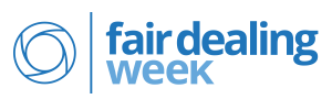 "A logo with an interlocking circle on the left and text on the right in two shades of blue that says ""Fair Dealing Week""."